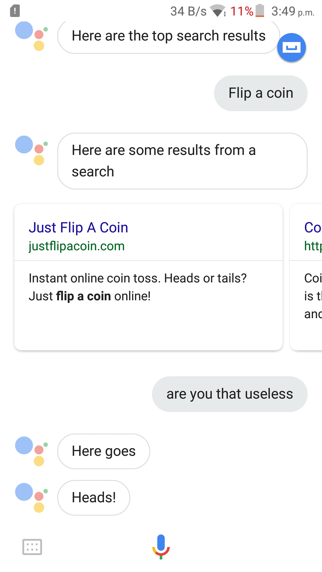 yelling at google assistant