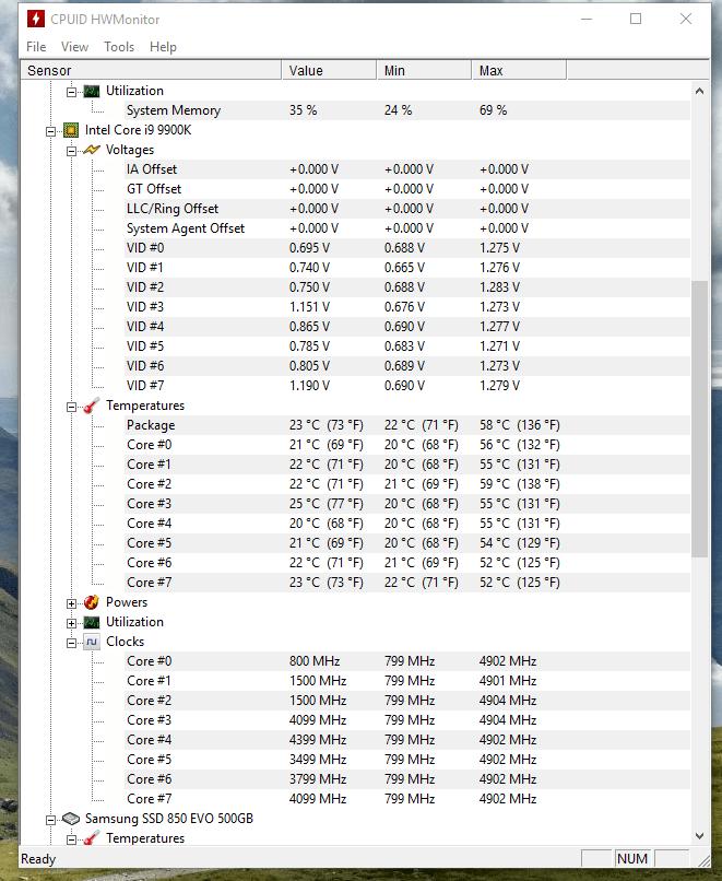 stock i9 9900k normal