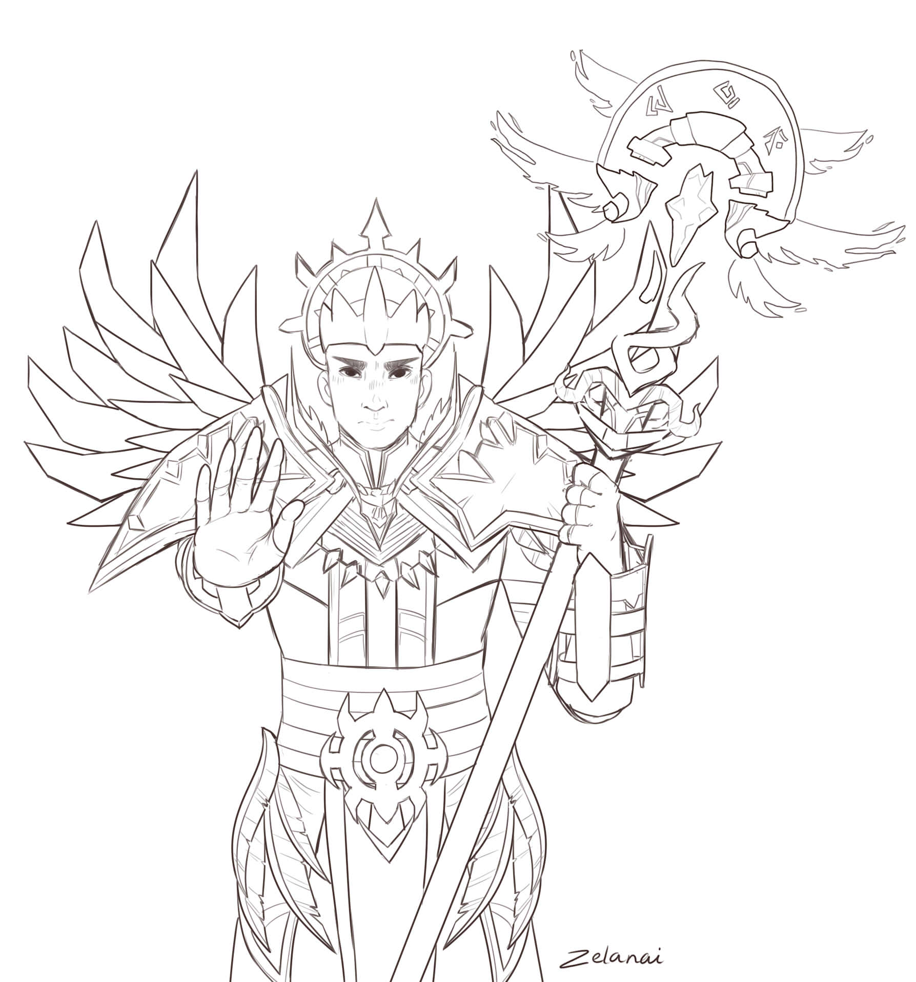 Human priest sketch (character belonging to @_keshi_ on