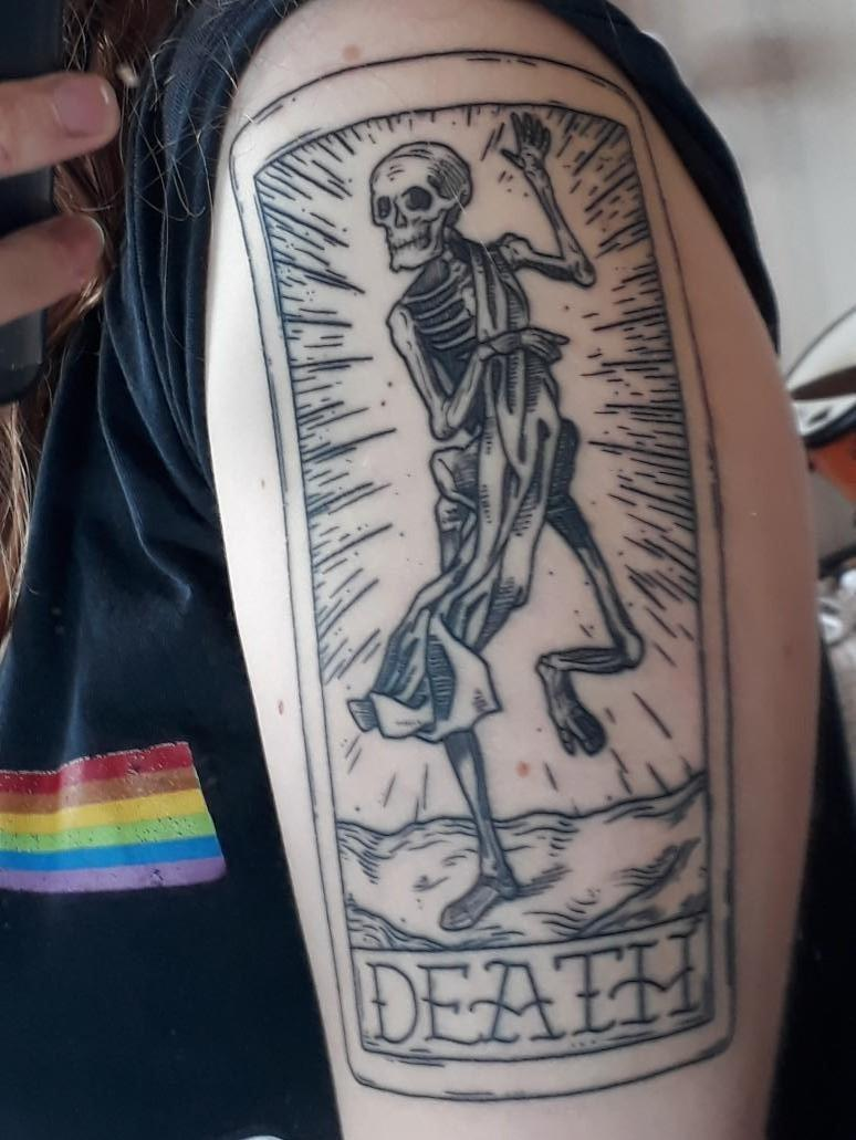 Tattoos About Death : tattoos, about, death, First, Tattoo!, Death, Tarot, Jenkins, Tattooed, Heart,, Auckland,, Zealand, Tattoos
