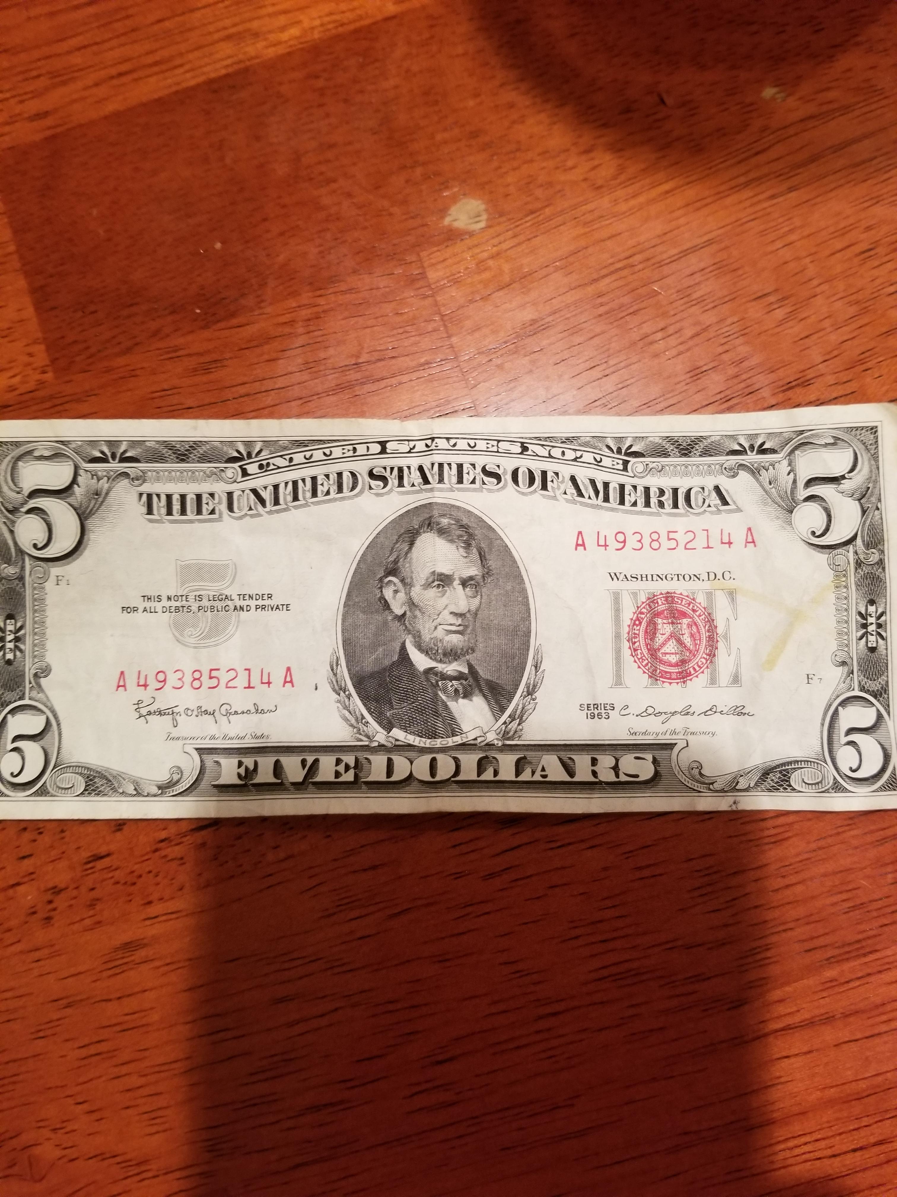 Five Dollar Bill With Red Ink : dollar, Mildlyinteresting