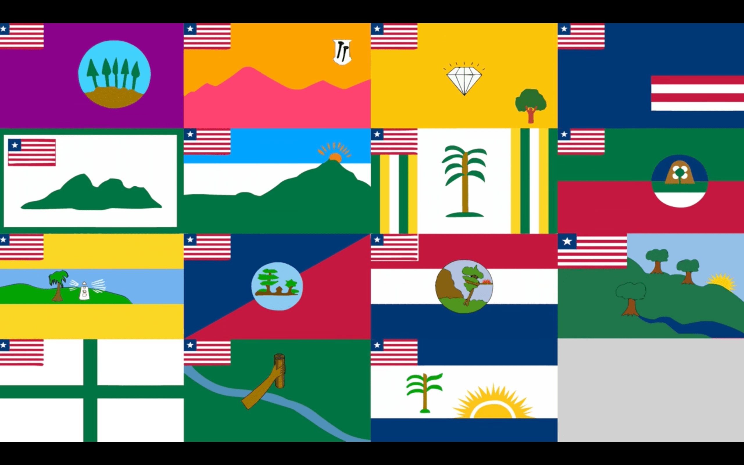 all liberian county flags