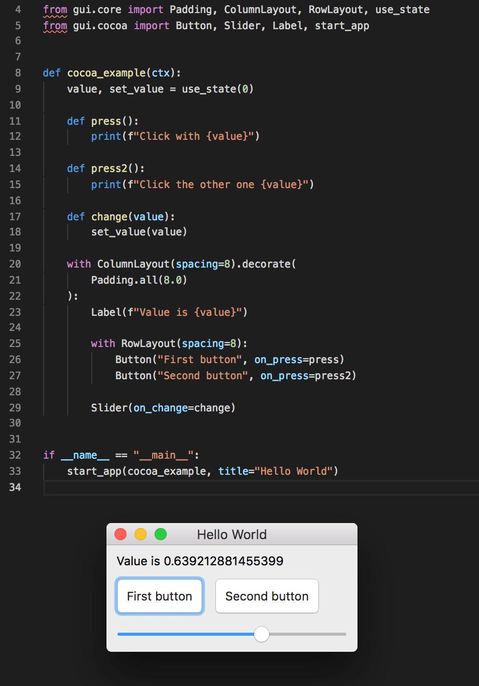 Library for making desktop apps like React : Python