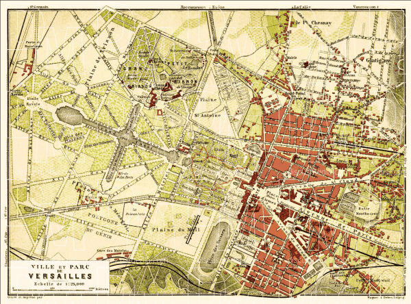 Map of the palace and city of Versailles 1903 1315x974