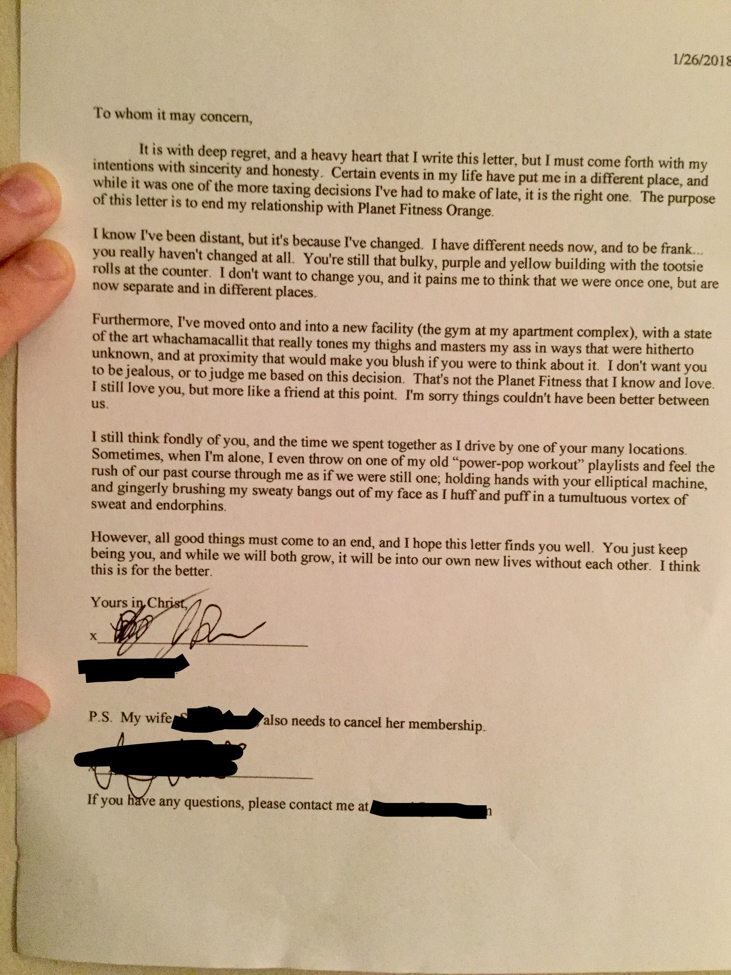 Cancel Planet Fitness Membership Letter   amulette