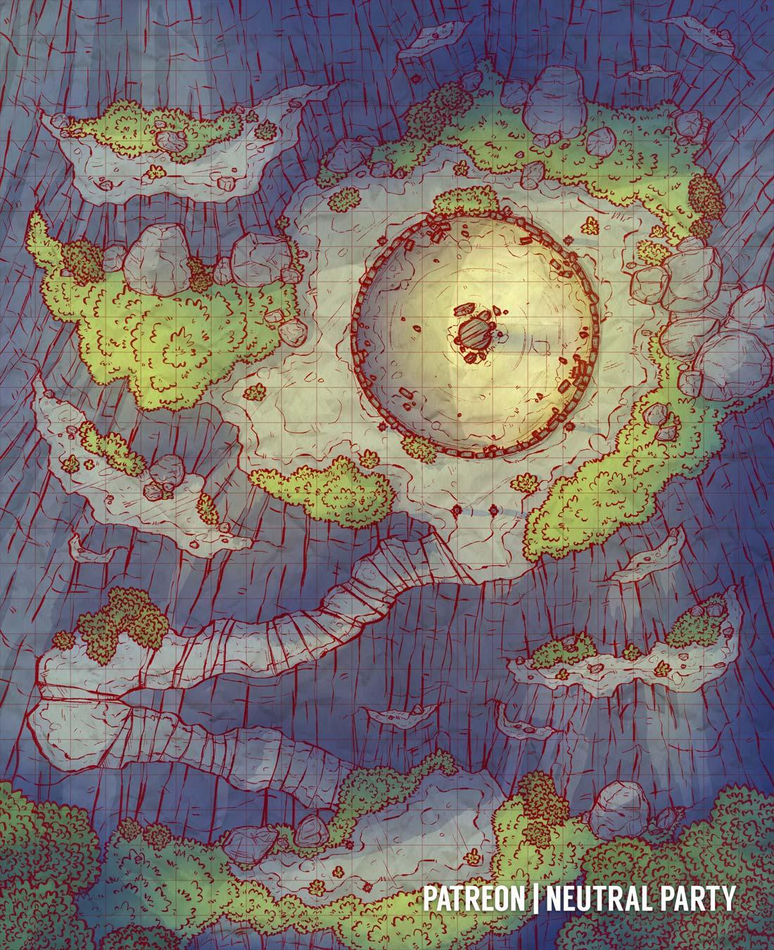 Arena Dnd Map : arena, OC][Art], Cliffside, Arena, Battlemap