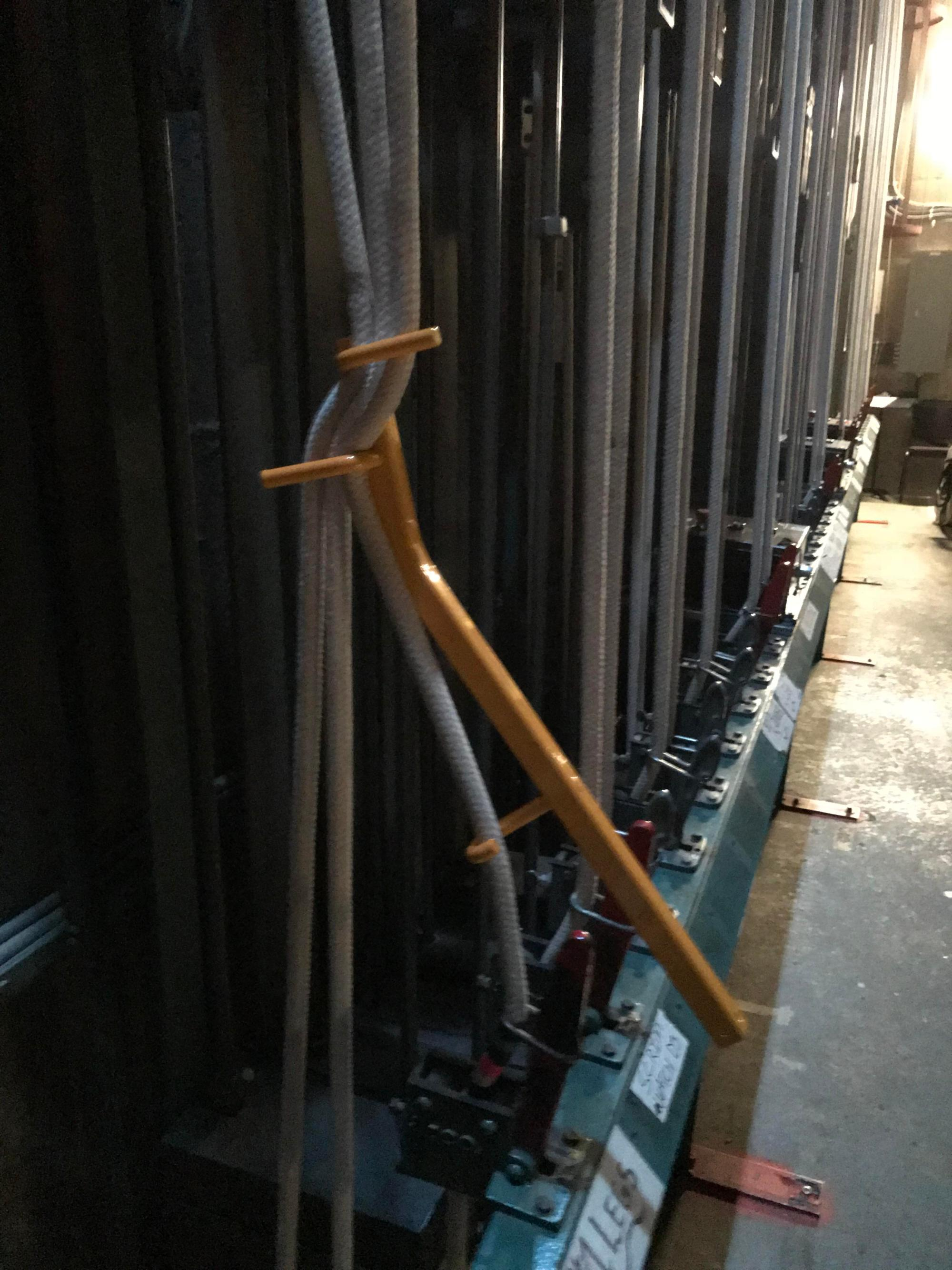 hight resolution of an uncle buddy or temporary rope lock for theatre counterweight systems