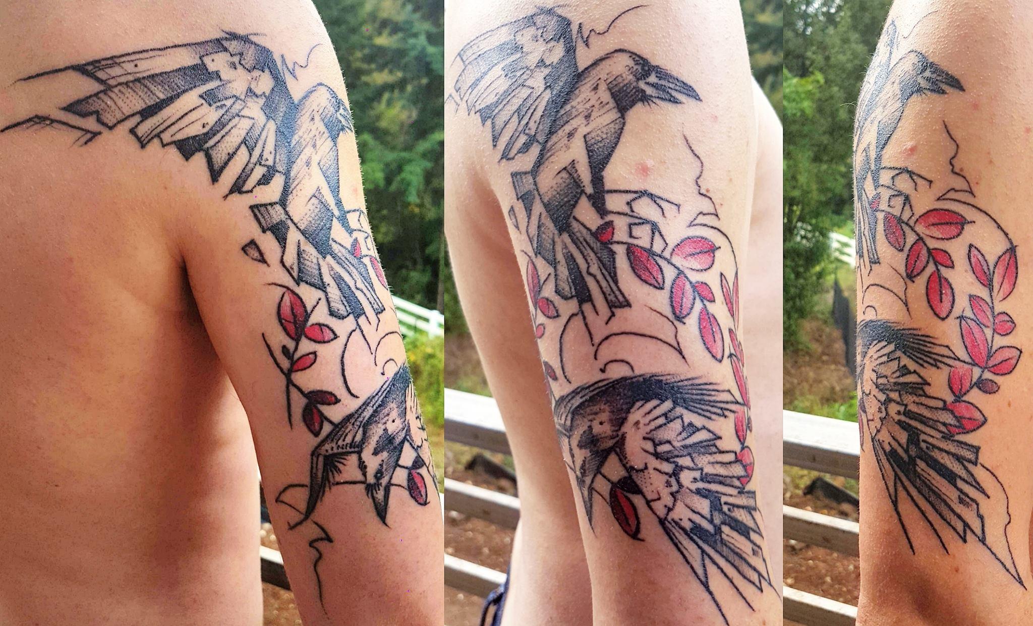 Huginn And Muninn Back Tattoo
