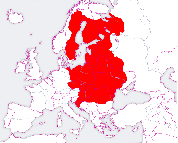 Anachronistic map of Poland lands under rule or