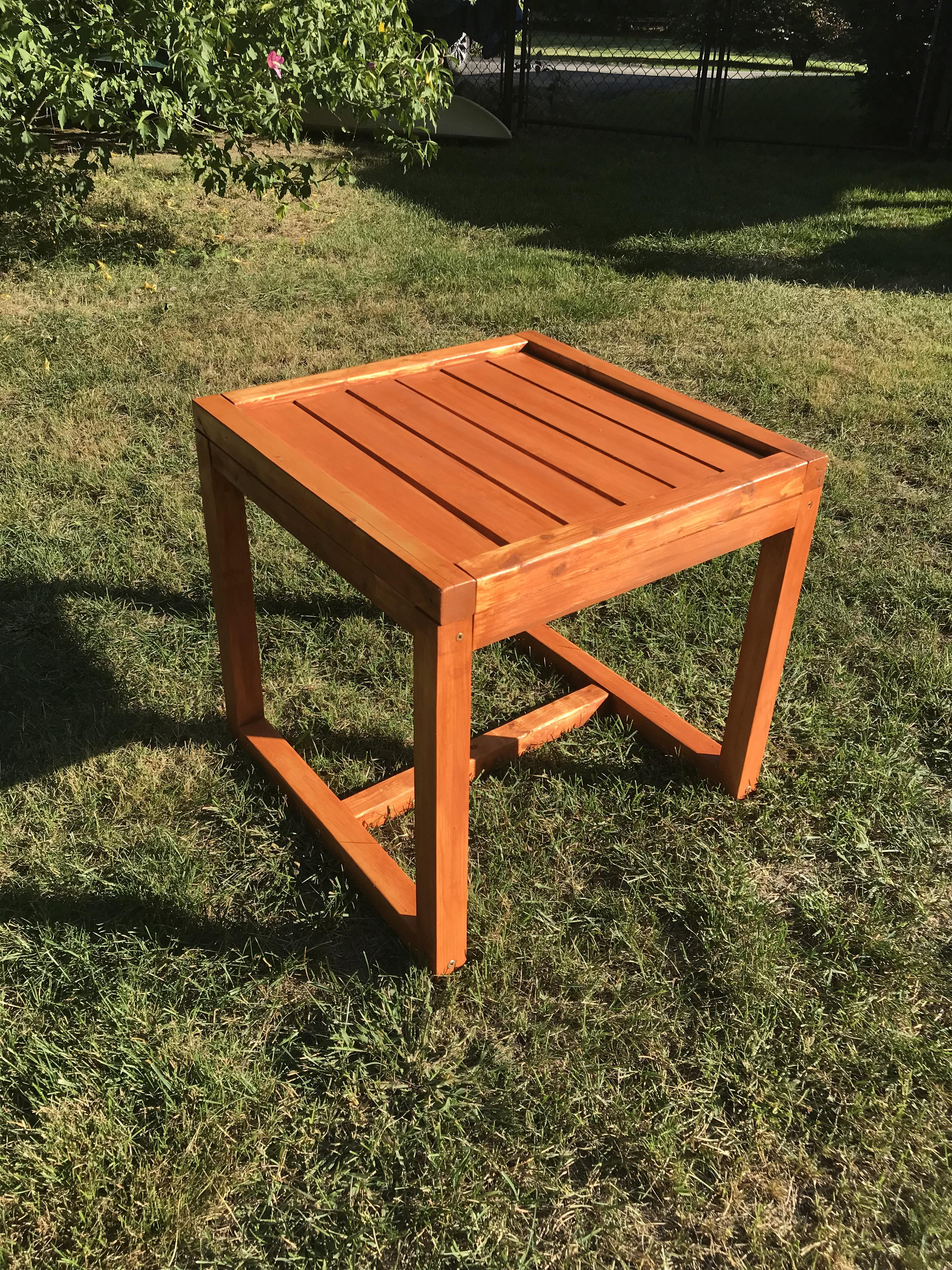 my first project a small patio table