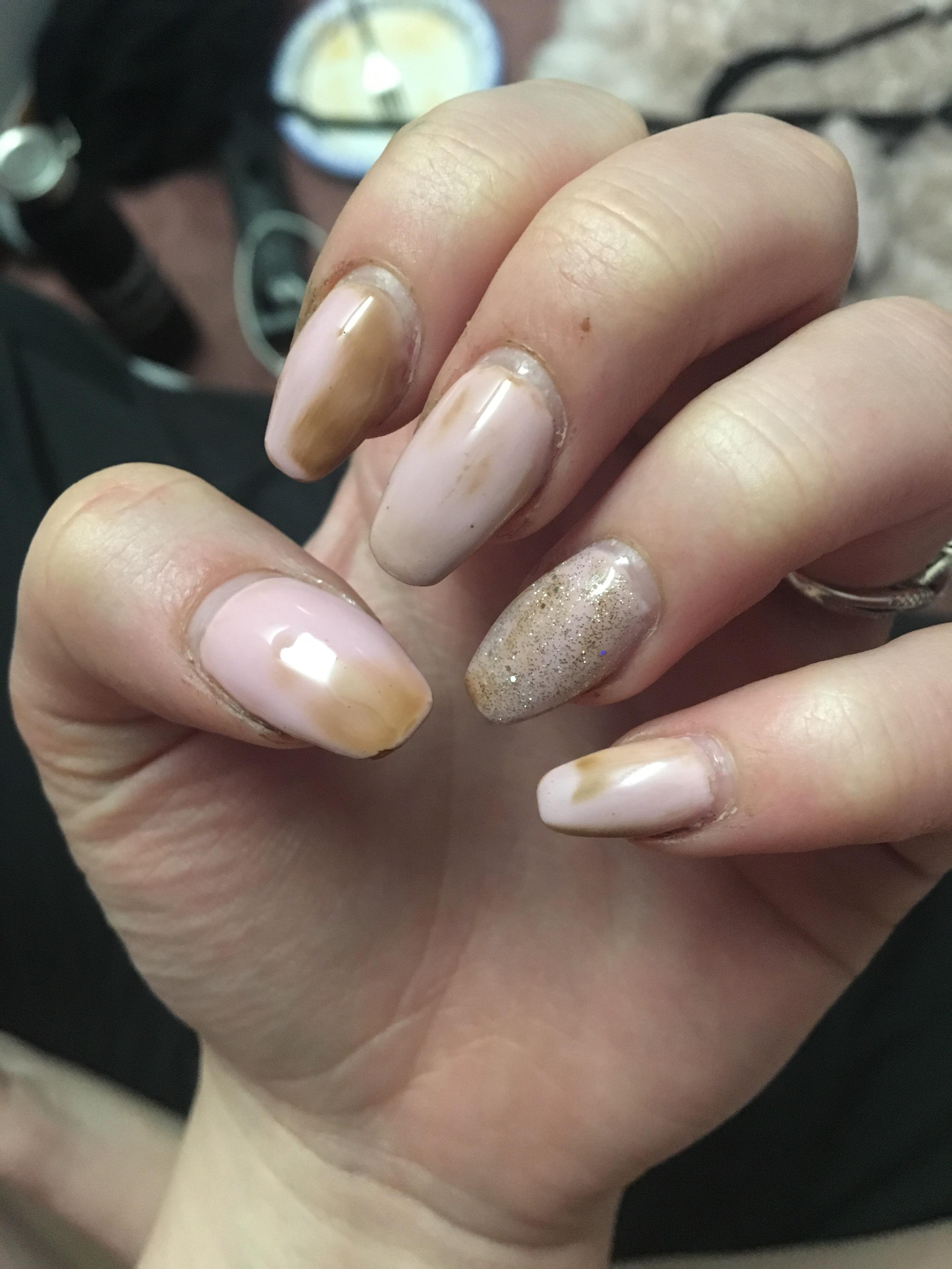 How To Clean Stained Gel Nails : clean, stained, nails, Nails, Turning, Brown??, Hands, Painted, Yesterday., TheGirlSurvivalGuide