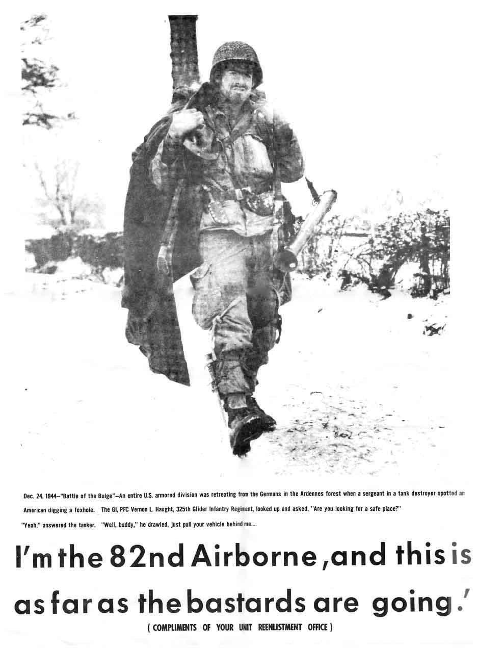 A makeshift WWII poster, featuring PFC Vernon Haught