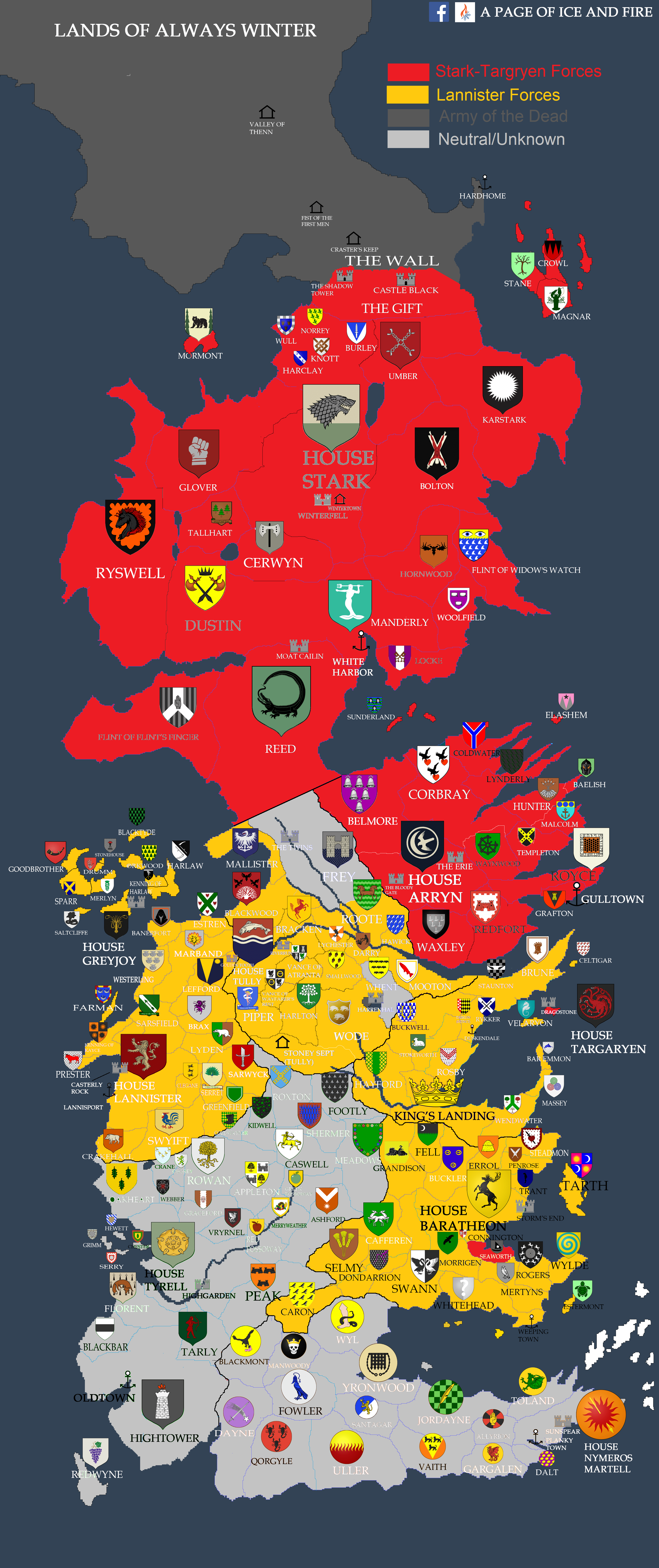 Game Of Thrones Houses Map : thrones, houses, SPOILERS], Political, Westeros, Gameofthrones