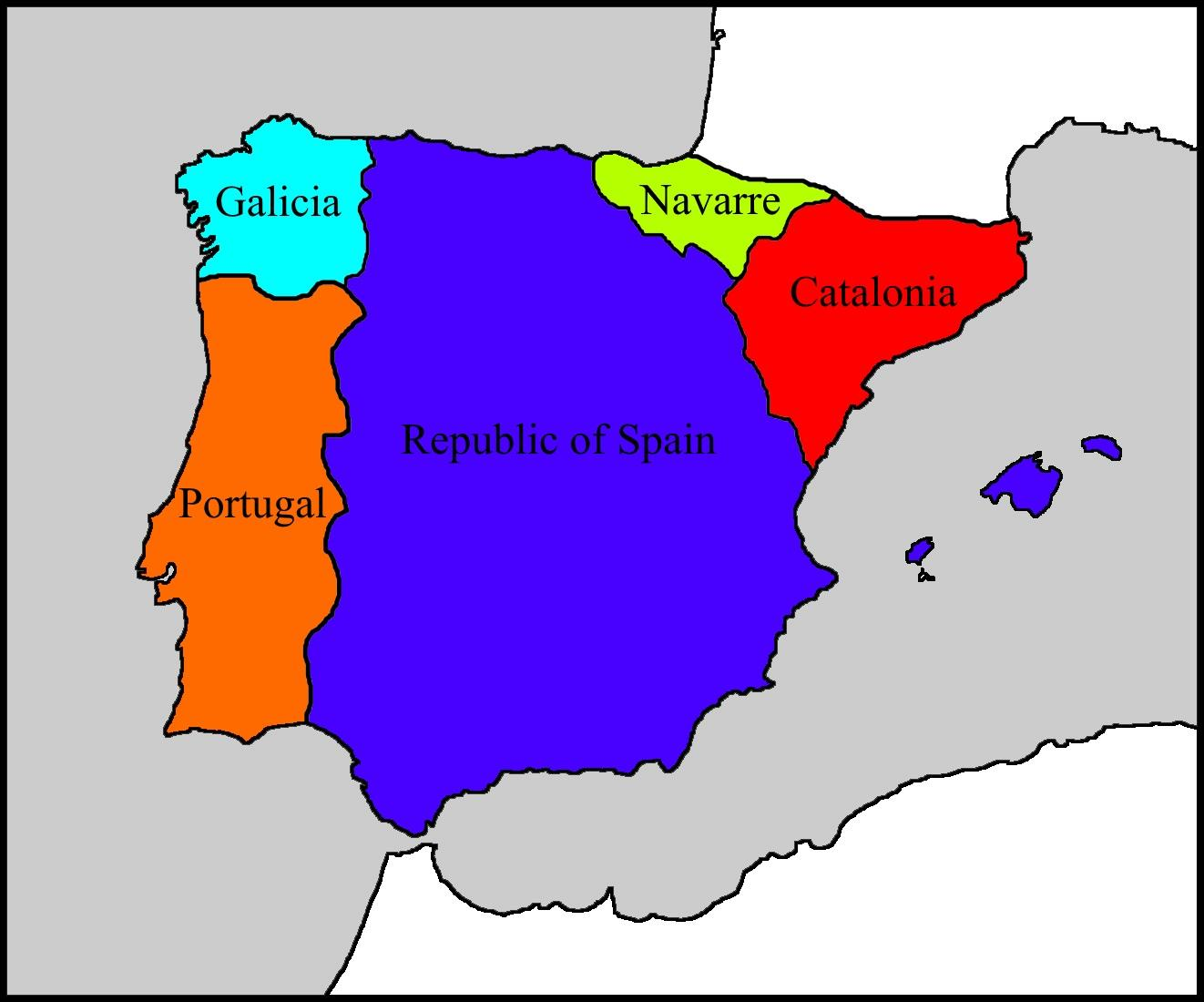 Simple Map Of Iberia Today With A Republican Victory In