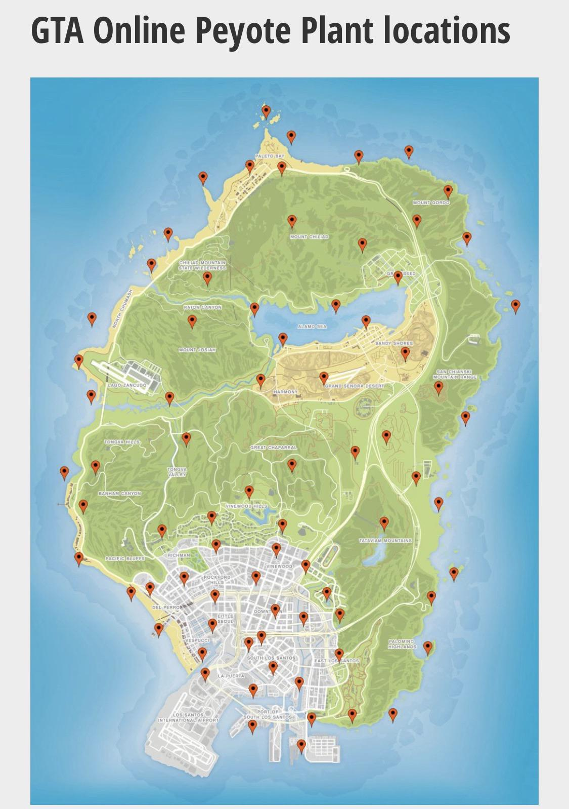 GTA Online Peyote Plants Locations - GTA BOOM
