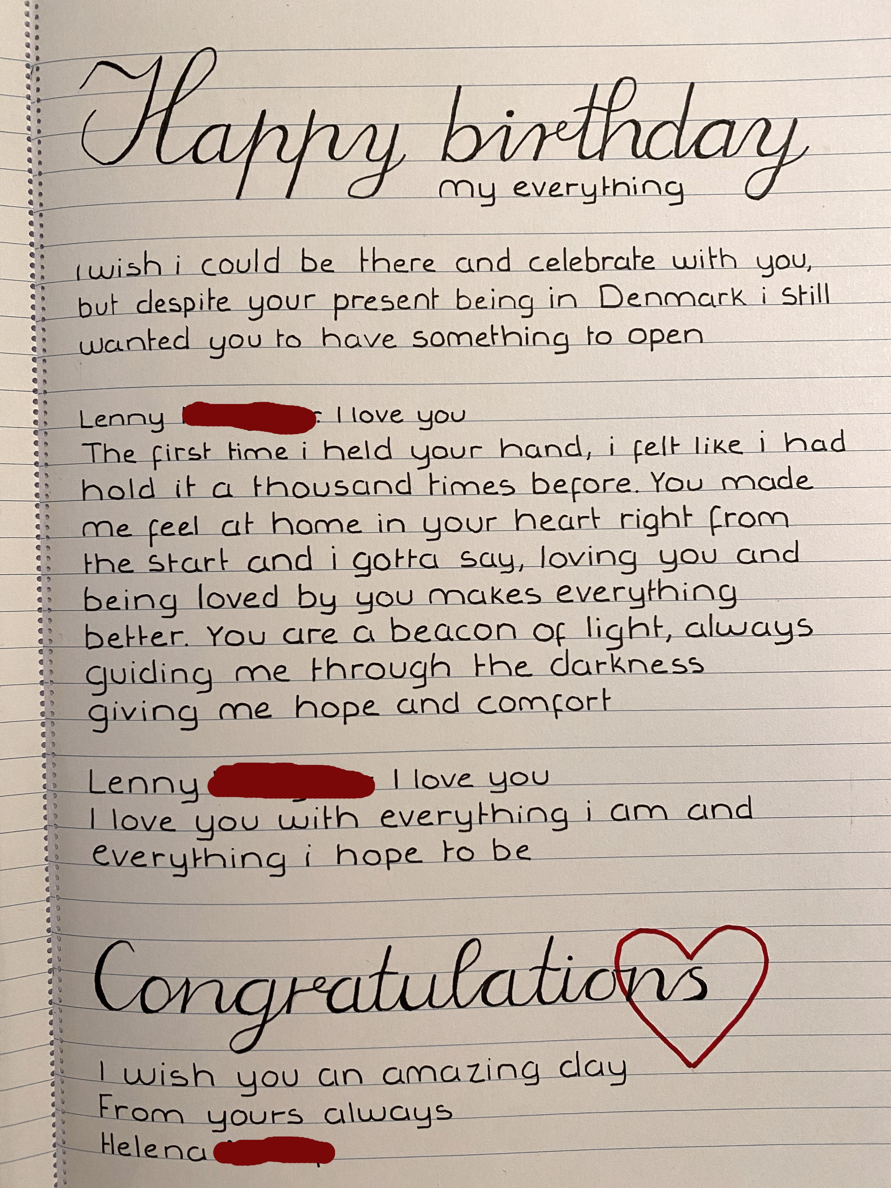 Letter To My Boyfriend On His Birthday : letter, boyfriend, birthday, Wrote, Birthday, Letter, Boyfriend, English, Isn't, First, Language, Realised, Grammar, Mistakes