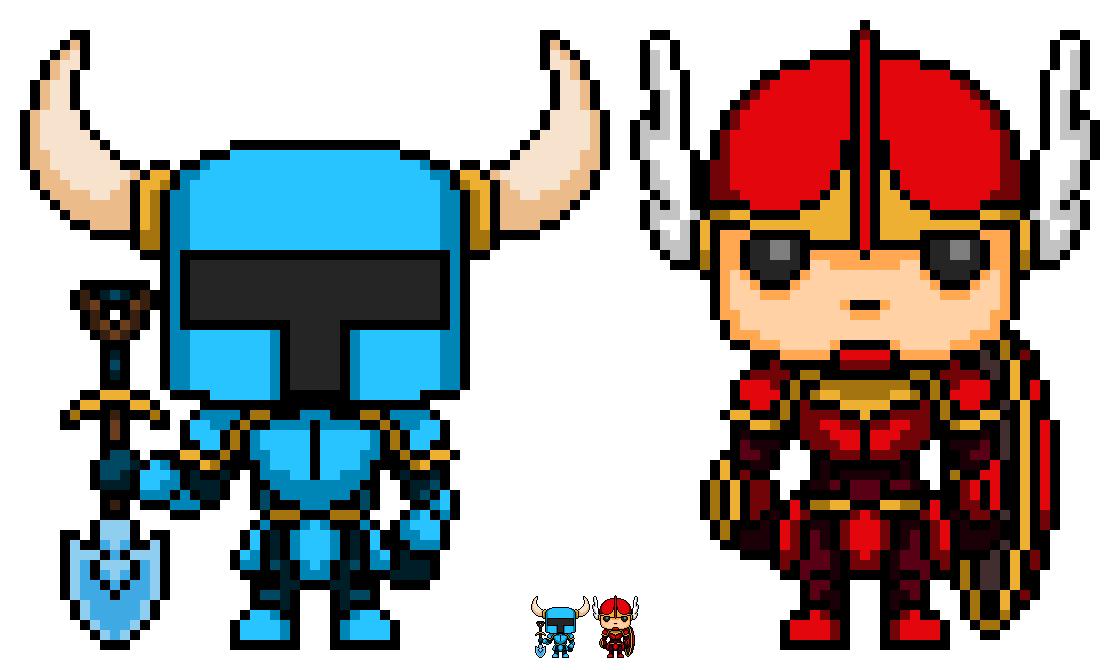 Shovel Knight And Shield Knight Pops Pixel Art Funkopop