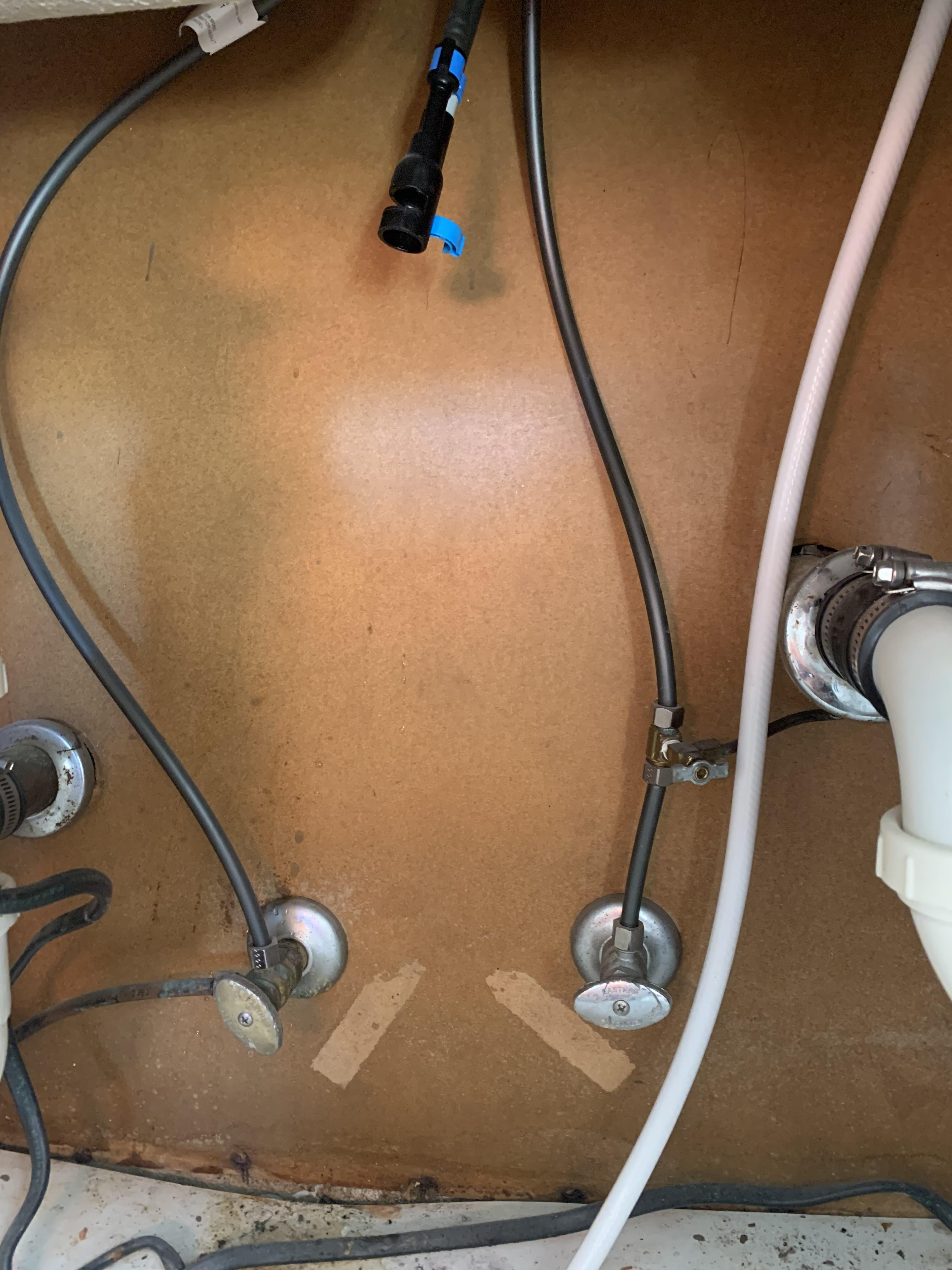 setup for new kitchen sink water lines