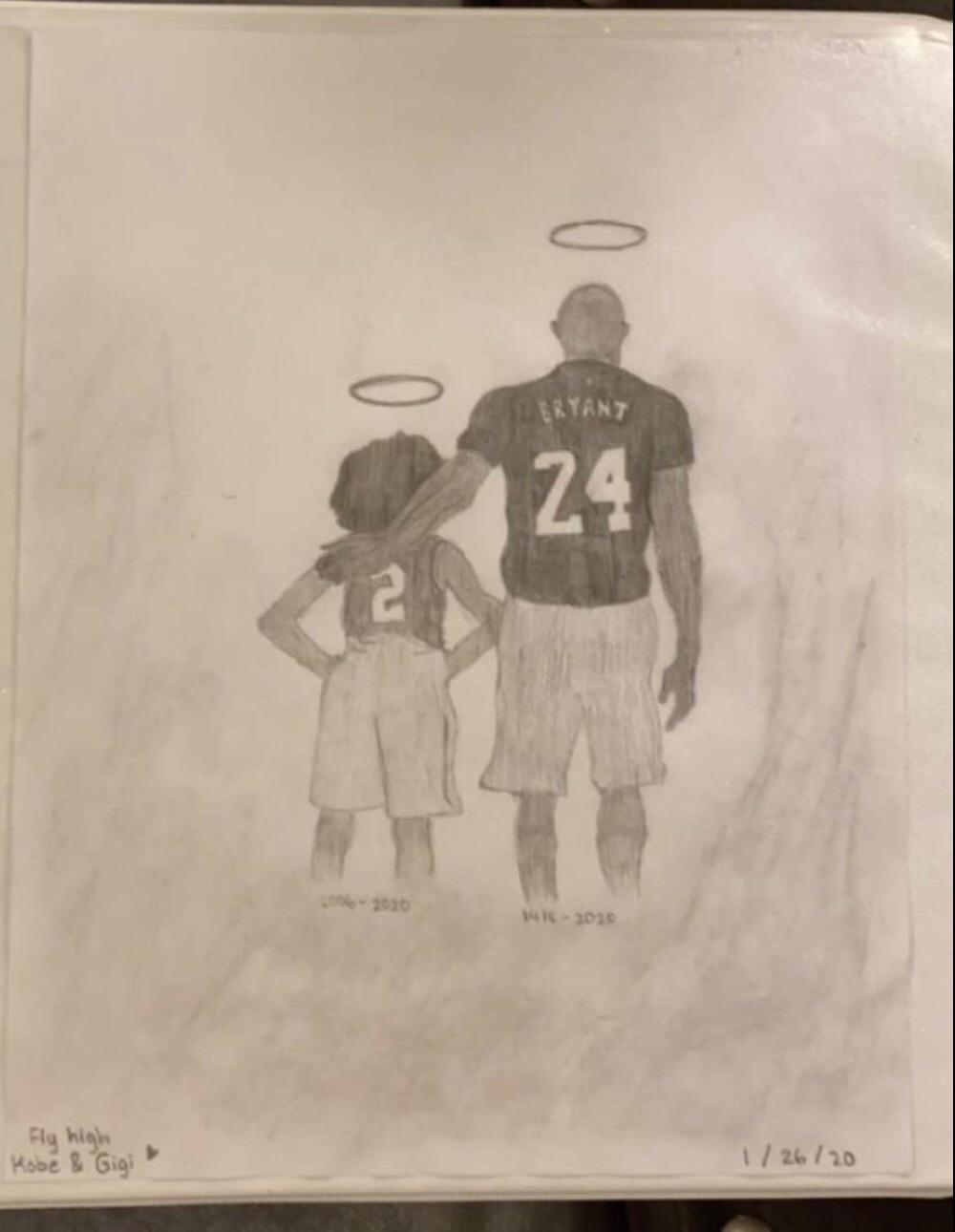 Heartbreaking drawing shows Kobe Bryant and 13-year-old