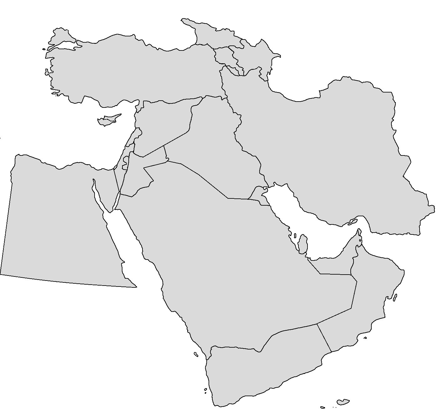Blank Map Middle East