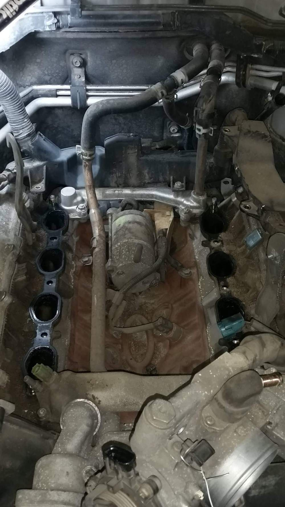 medium resolution of shout out to the engineers at toyota let s place the starter under the intake manifold where it s hot as fuck and impossible to access