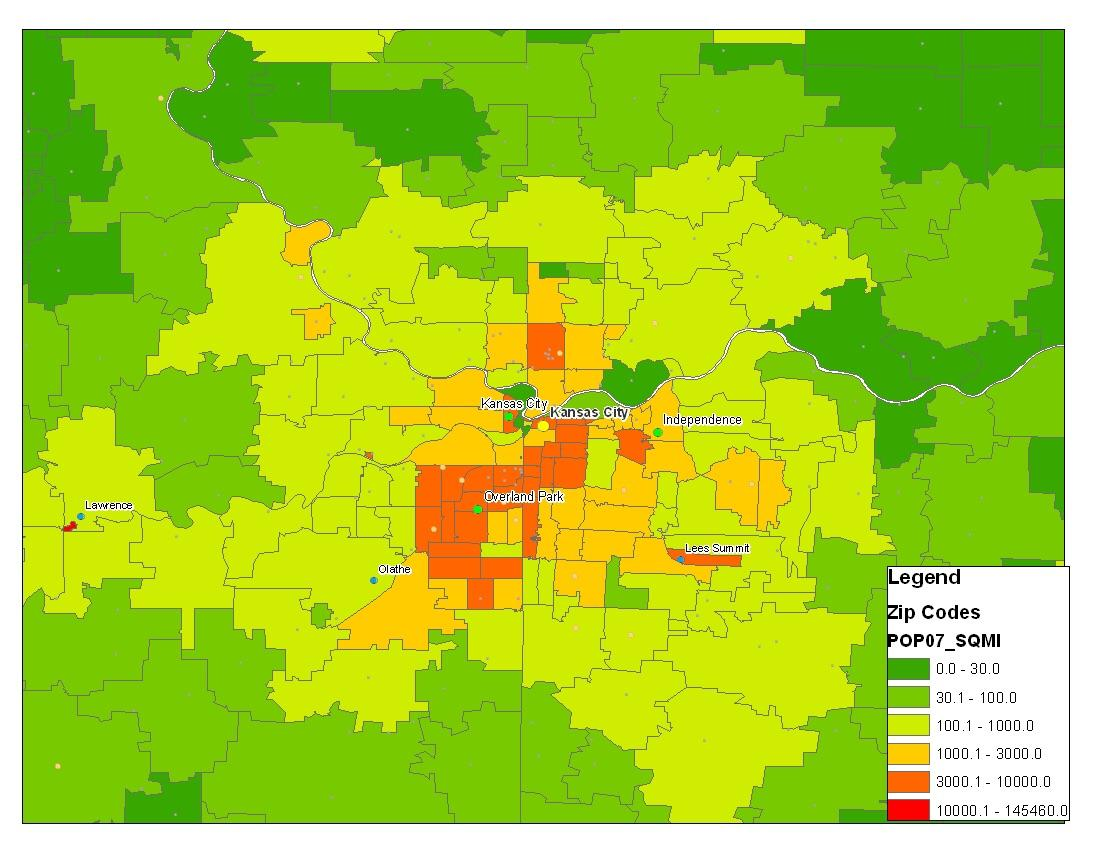 Here Is A Population Density Map Of Kansas City Fun Fact Johnson County Kansas Not Missouri Is The Most Densely Populated County Within 150 Miles Kansascity