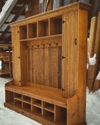 Double Locker hall tree in rustic Montana fir. : woodworking