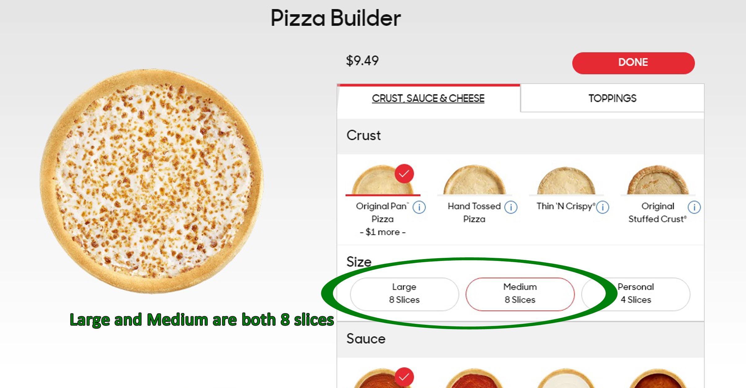 Pizza Hut Regular Pizza How Many Slices
