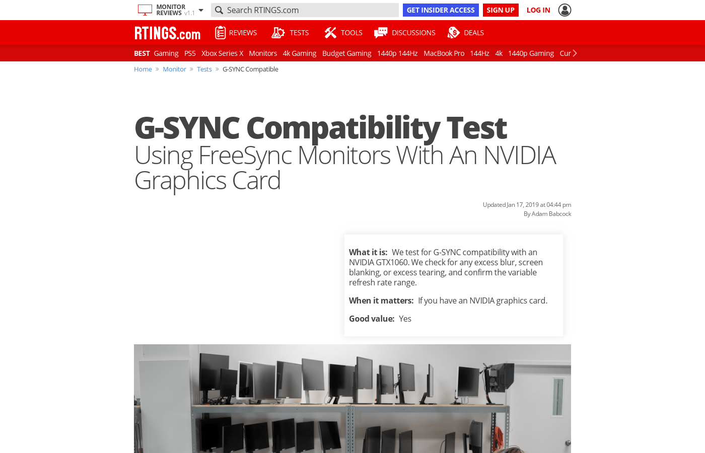 g sync compatibility test