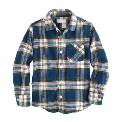Boys' Cotton Twill Flannel Shirt In Deep Ivy Plaid .crew