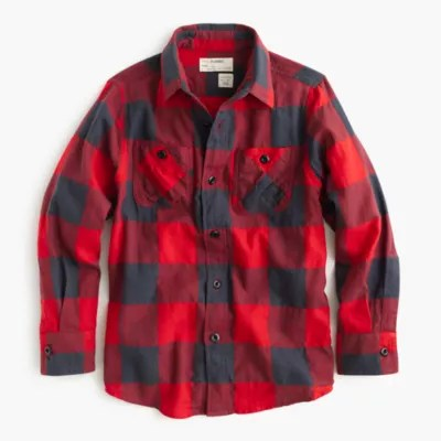 Boys' Flannel Shirt In Buffalo Check .crew
