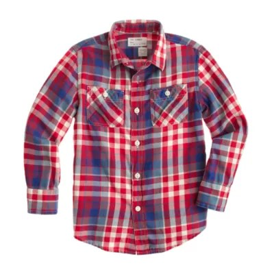 Boys' Flannel Shirt In Cerise Plaid .crew