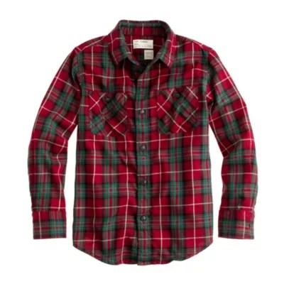 Boys Red Plaid Flannel Shirts