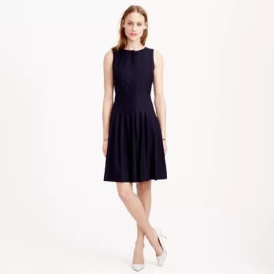 Pleated -line Dress In Super 120s Wool .crew