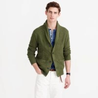 Cotton guernsey shawl-collar cardigan sweater : cotton | J ...