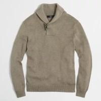 Cotton toggle shawl-collar sweater : | Factory