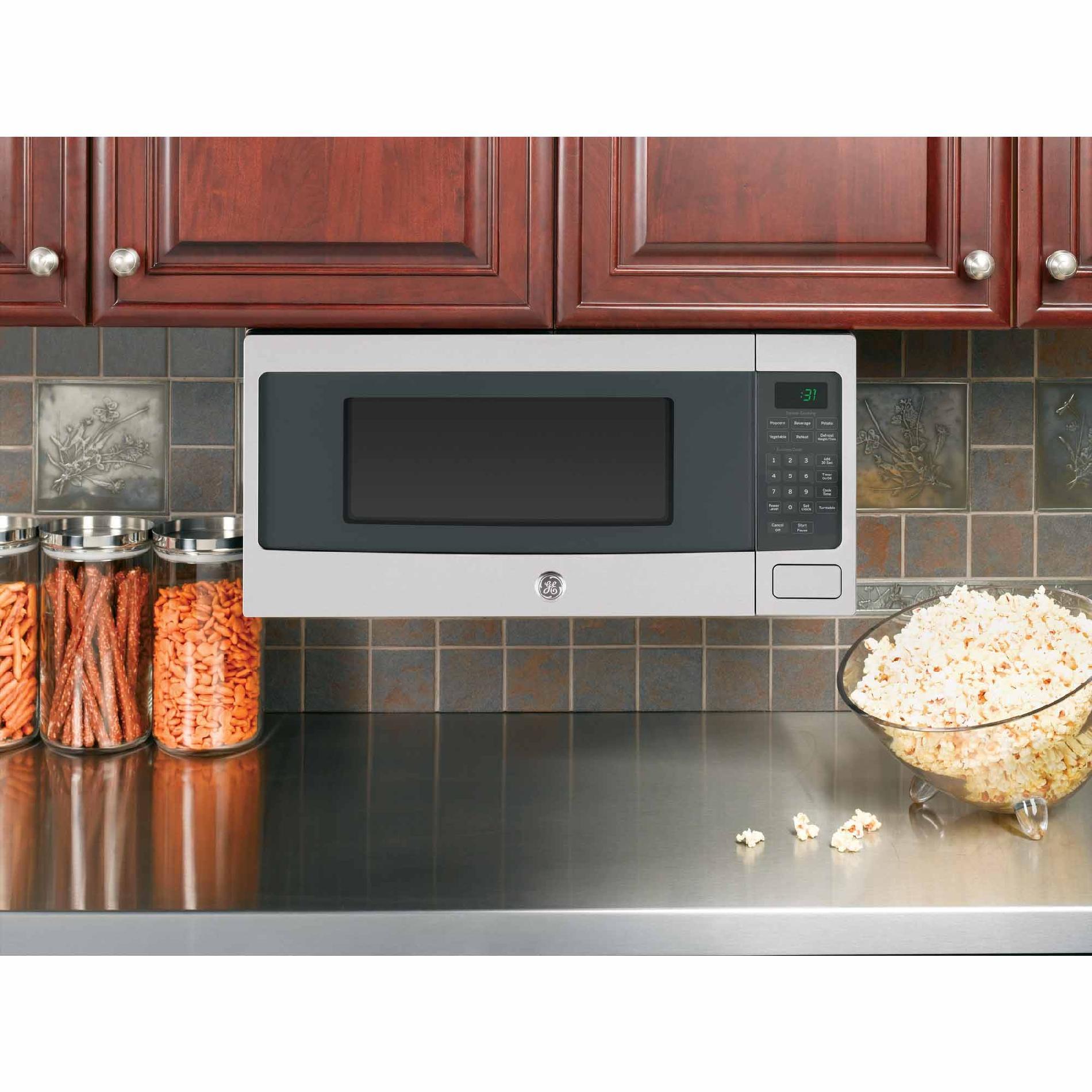 ge profile series pem31sfss 1 1 cu ft countertop microwave oven stainless steel
