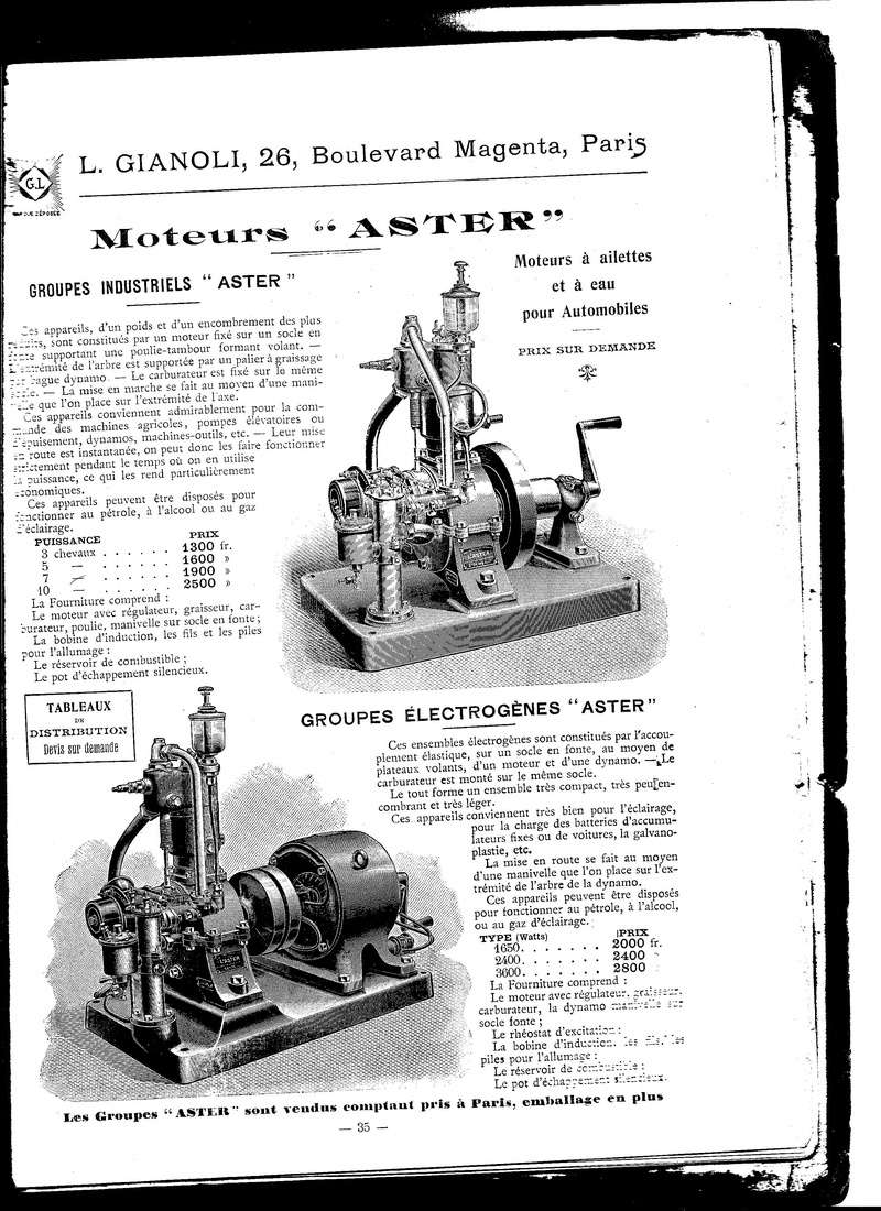 (recherche) informations sur ce moteur aster