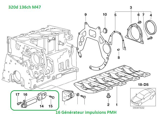 [ BMW e46 320d M47an 1998 ] Emplacement du capteur pmh