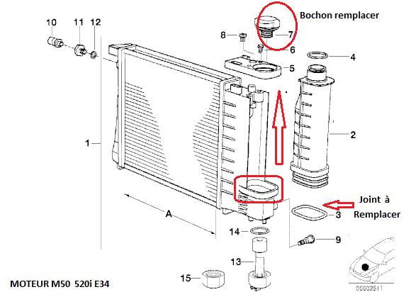[ BMW E34 520i M50 an 1991 ] Fuite légère bas du vase d