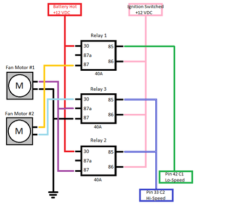 3 relay cooling fan wiring     question