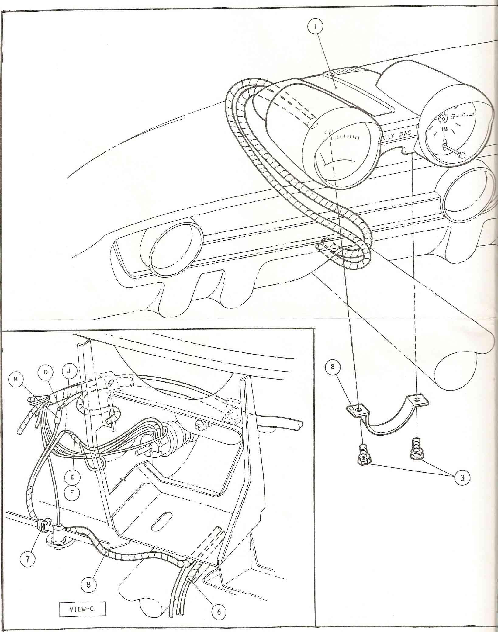 Branchement (diagramme) du Rallye pack, Mustang 1965 1966