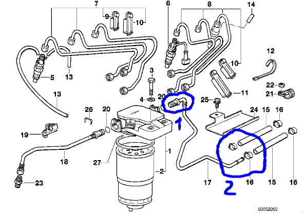 [ BMW E36 325tds an 1997 ] Raccord plastique filtre gasoil