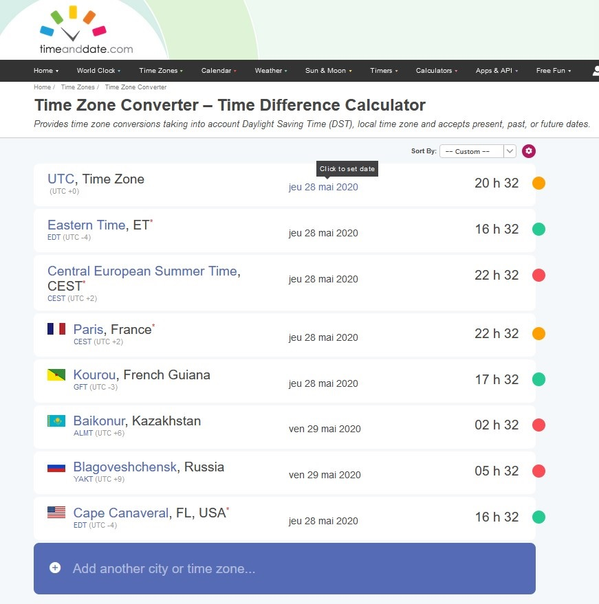 Dates et horaires des différents sites de lancement avec Time Zone Converter