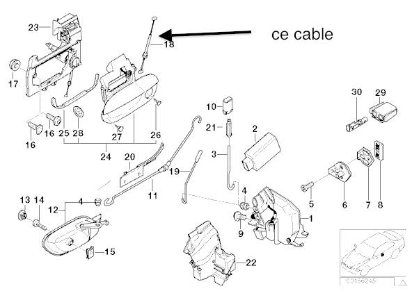 [ BMW E39 530da an 2001 ] recherche câble qui tire la