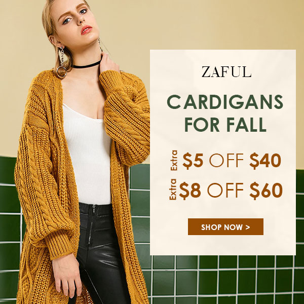 Cardigans for Fall! Enjoy Extra $5 OFF $ 40 and $10 OFF $60 sale at Zaful.com! Ends: 10/10/2017