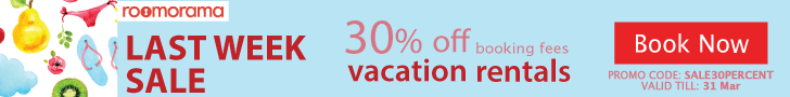 "Last week sale - 30% off Booking Fee. Promo code ""SALE30PERCENT"" ends Mar 31, 2017"