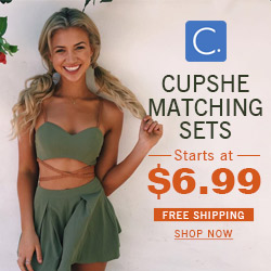 Cupshe Matching Sets! Starts at $6.99! Free Shipping! Shop Now!