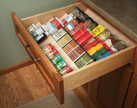 Picture Of Diy Angled Shelving To Organize Spices In A Drawer