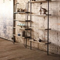 Kitchen Shelf Unit How To Organize Your Cabinets And Drawers 65 Ideas Of Using Open Wall Shelves Shelterness Leaning Wood Metal Shelving Could Easily Be Used On A